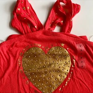 NWT Justice Peach With Gold Heart Tank Top Size 7